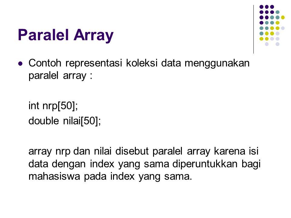 Paralel Array Contoh representasi koleksi data menggunakan paralel array : int nrp[50]; double nilai[50];